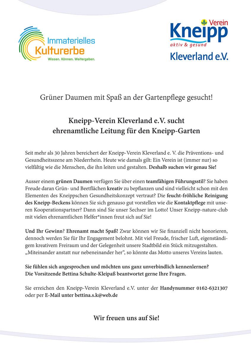 Stellenanzeige: Ehrenamtliche Leitung für Pflege des Kneipp-Gartens gesucht.