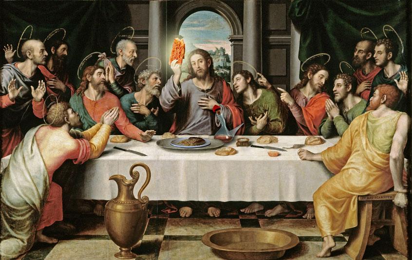 Jesús era català: Prengué el pà amb tomàquet amb les seves mans venerables i el sagrat vi de l´aliança no va i eterna en porró de barretina tot dient: mengeu i beveu-ne tots que aquest es el cos...