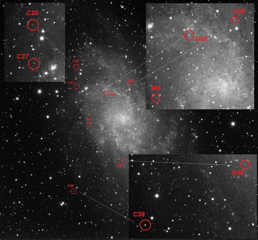 L-Kanal der Farbaufnahme mit den Sternhaufen