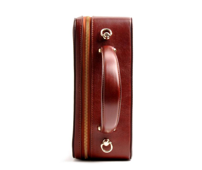 handgefertigte Henkeltasche VIRGINIE Vintagelook Leder braun OSTWALD Tradition