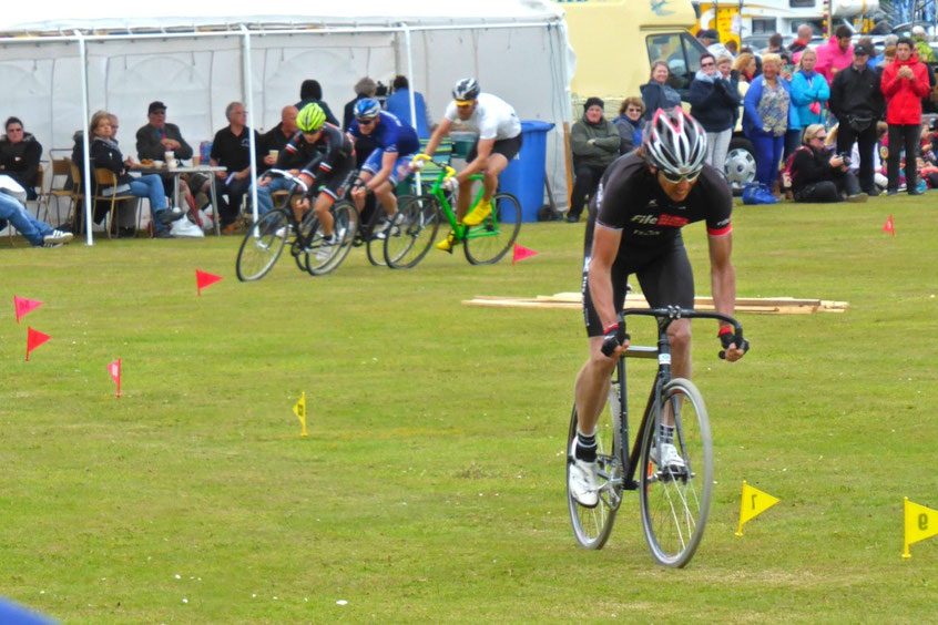 Cycle race on the grass