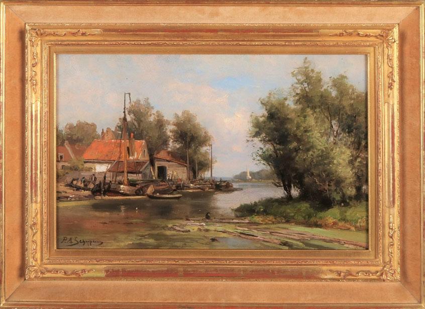 te_koop_aangeboden_een_rivier_gezicht_van_de_nederlandse_kunstschilder_pieter_adrianus_schipperus_1840-1929_verwant_aan_de_haagse_school