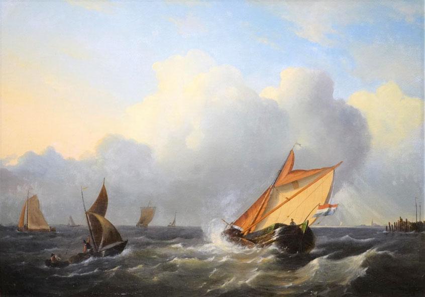 te_koop_aangeboden_een_marinegezicht_van_de_hollandse_kunstschilder_gerrit_gruijter_1806-1880_hollandse_romantiek