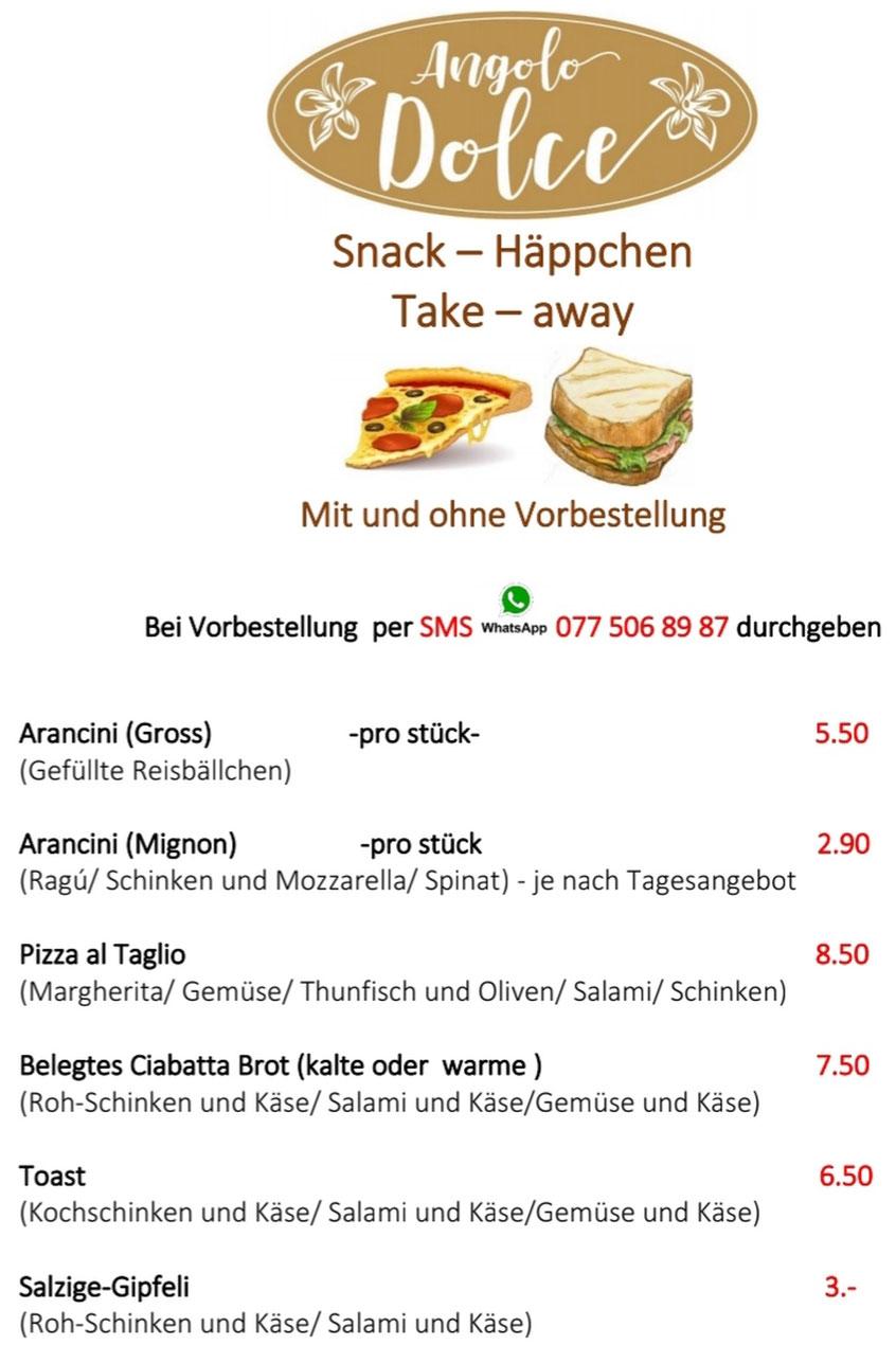 Essen zum Mitnehmen. Snacks und Pizza Take-Away.