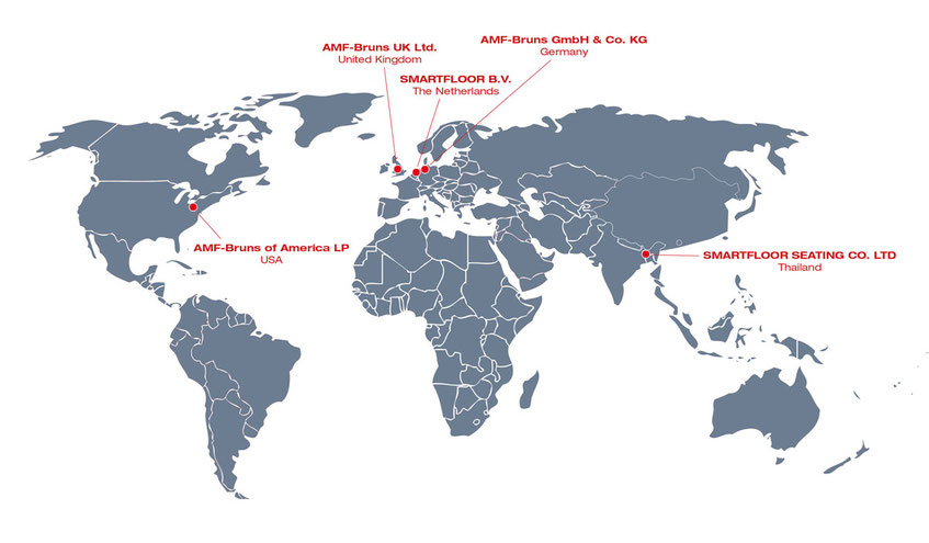 World map shows all foreign branches of AMF-Bruns in Germany, UK, USA, The Netherlands and Thailand