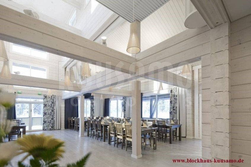 Hotel mit Restaurant im Blockhaus - Blockhausbau - Hausbau - Exklusives allergikerfreundliches Architektenhaus in massiver Blockbauweise - Blockhaushotel - Landhotel