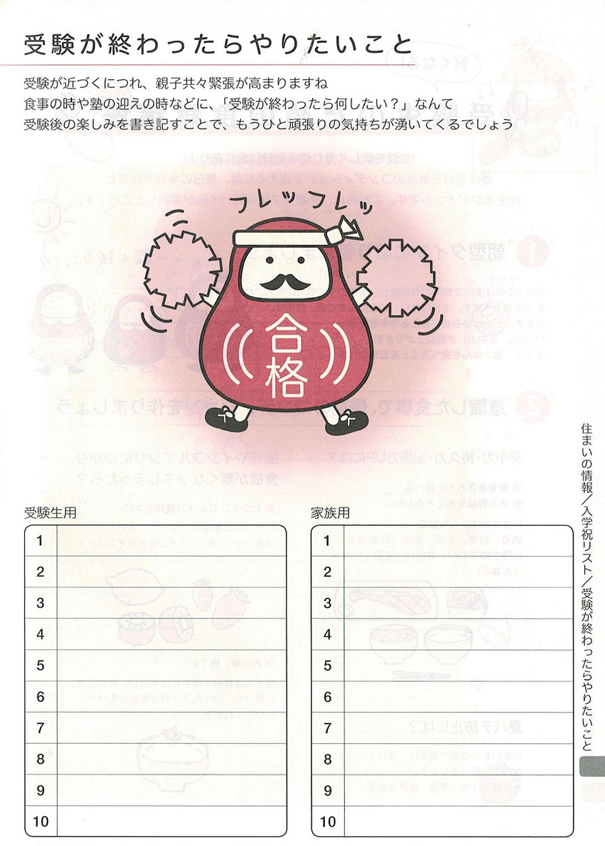 受検スケジュール帳,受験が終わったらやりたいこと