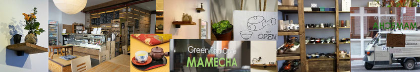 collagephoto of green tea café and shop