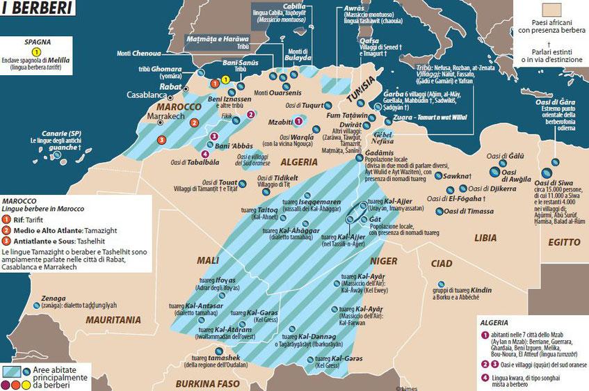 Presenza berbera nel Maghreb (foto Limesonline)