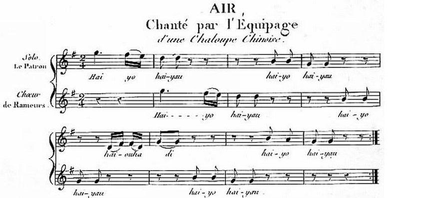 Air chanté par l'équipage d'une chaloupe chinoise. Hüttner, Voyage en Chine et en Tartarie.