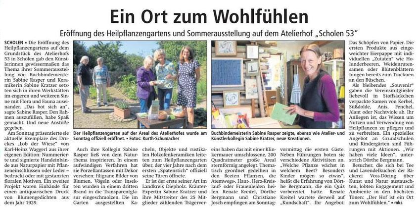 Sulinger Kreiszeitung Pressetext Sommerausstellung