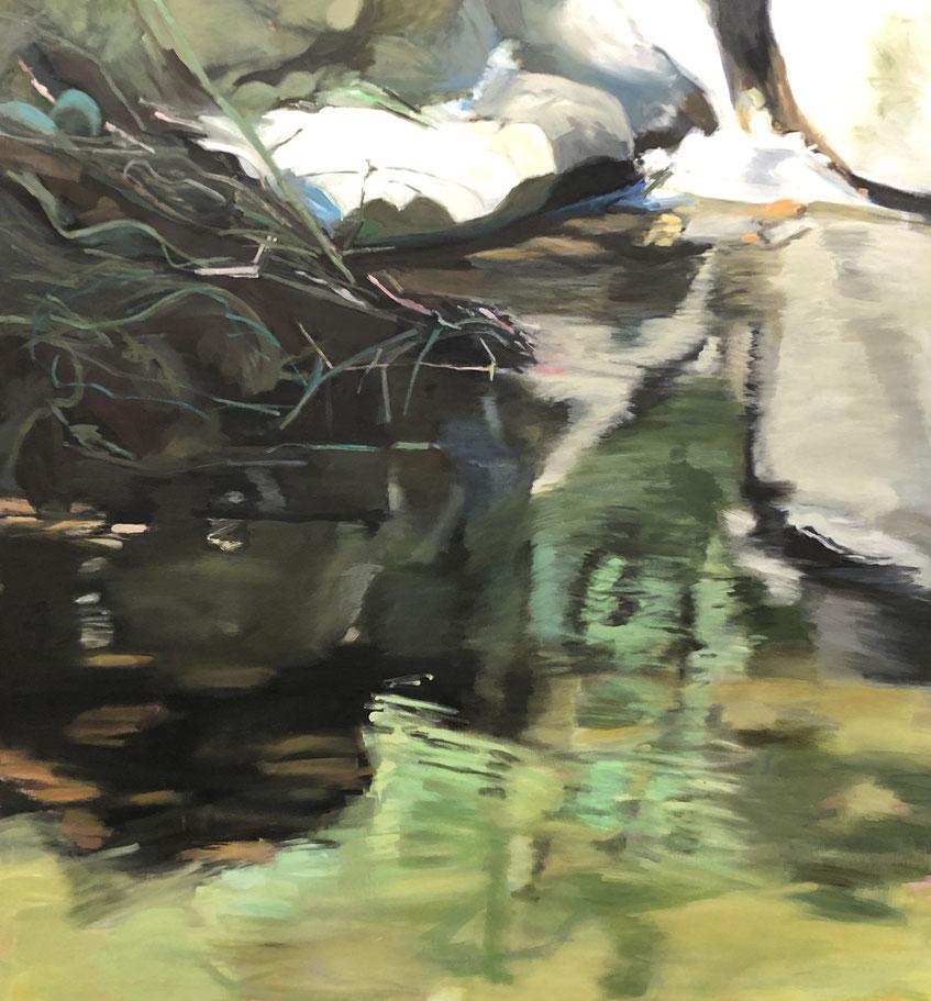 Ehrliche Schattenecke 2019 160 x 150 cm Öl / Leinwand - Herta Müller
