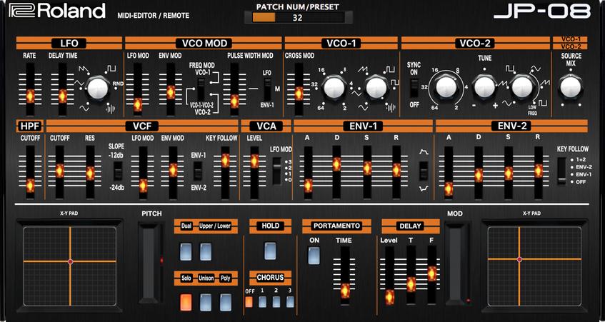 """ROLAND BOUTIQUE JP-08 """"MIDI EDITOR / REMOTE"""", VST and Standalone"""
