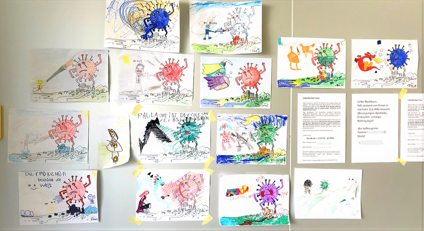 Kinderzeichnungen - Coronavisrus und das Gute