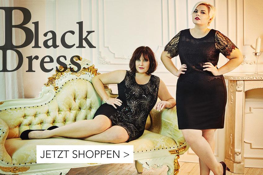 schwarzes Kleid mit Spitze für mollige Frauen