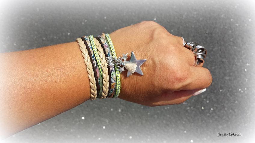 Bracelet manchette 2 tours, tendance, ORION, ses étoiles, son pompon, vert kaki, beige et argenté bassin d'arcachon