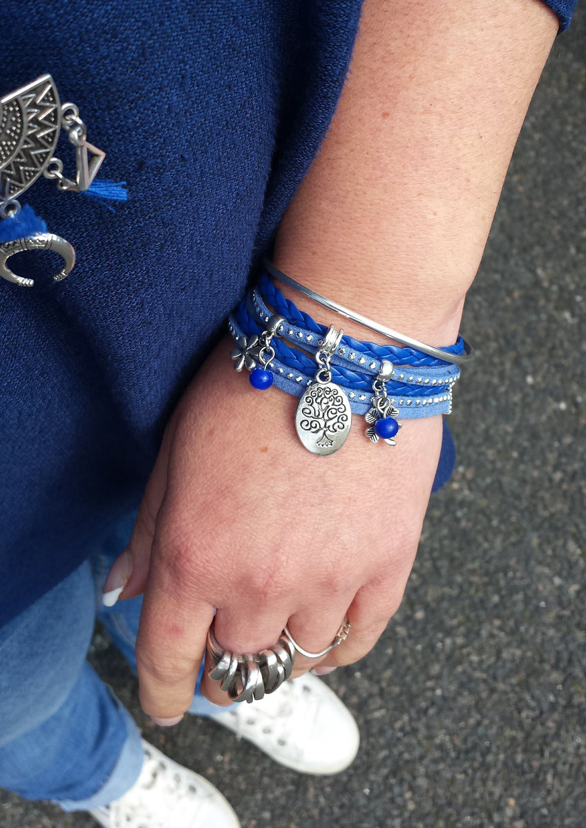 Bracelet ARBRE DE VIE manchette 2 tours, ses perles et pampilles, bleu, argent strass, fait main en France