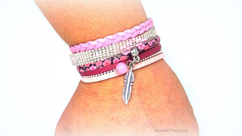 bracelet manchette plume rose perles liberty été
