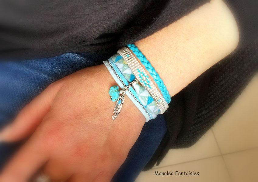 bracelet manchette perles plume turquoise large, été