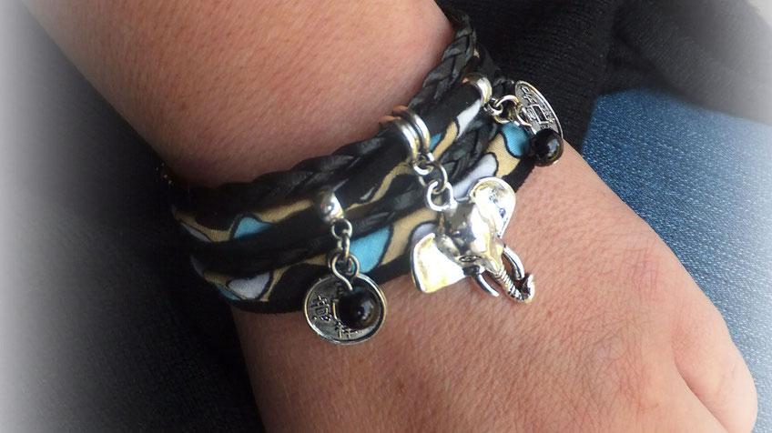 Bracelet manchette GANESH 2 tours, tête d'éléphant, pièces chinoises trouées, perles, noir, beige, turquoise et argenté