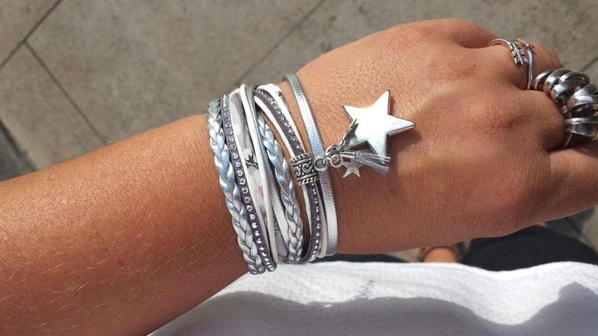 Bracelet manchette 2 tours, tendance, ORION, ses étoiles, son pompon, gris et argenté bassin d'arcachon