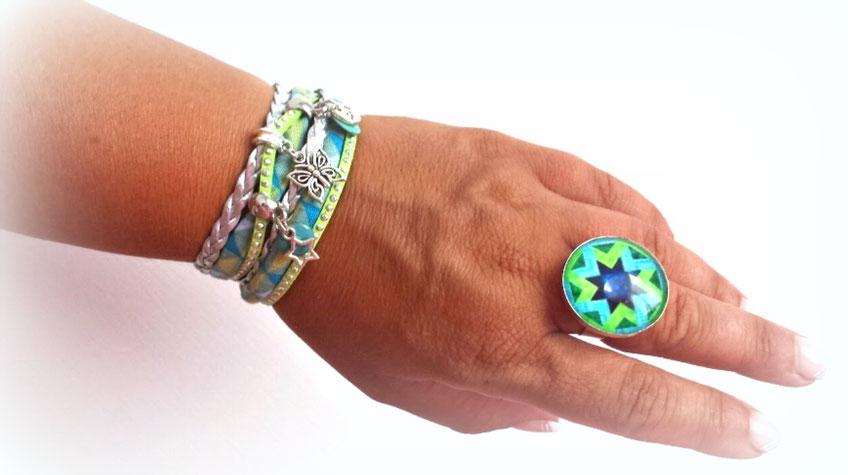 Bracelet ELOUAN manchette 2 tours , papillon, étoile, love dans les tons verts anis, turquoise et argenté