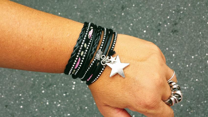 Bracelet bohème ORION noir, bracelet multitour, bracelet 2 tours breloque étoile, bracelet pompon, bracelet noir, bracelet argenté, bracelet artisanal, bracelet made in France, idée cadeau