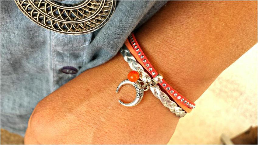 Bracelet LUNA mini manchette demi lune orange et argent fait main en france, ethnique