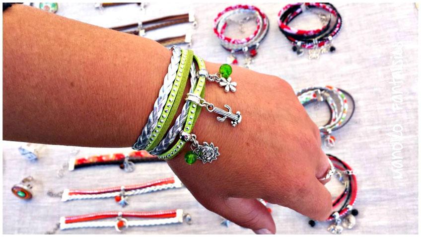 Bracelet SAMSON manchette 2 tours cactus piquant tendance soleil vert fleur été