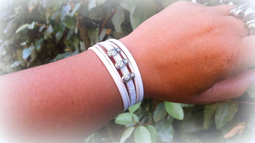 Bracelet Ananas cuir blanc paillettes boho tendance été