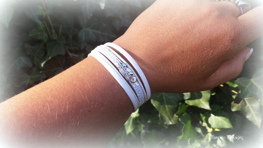 Bracelet bracelet Plume en cuir blanc et ses paillettes tendance été bohochic