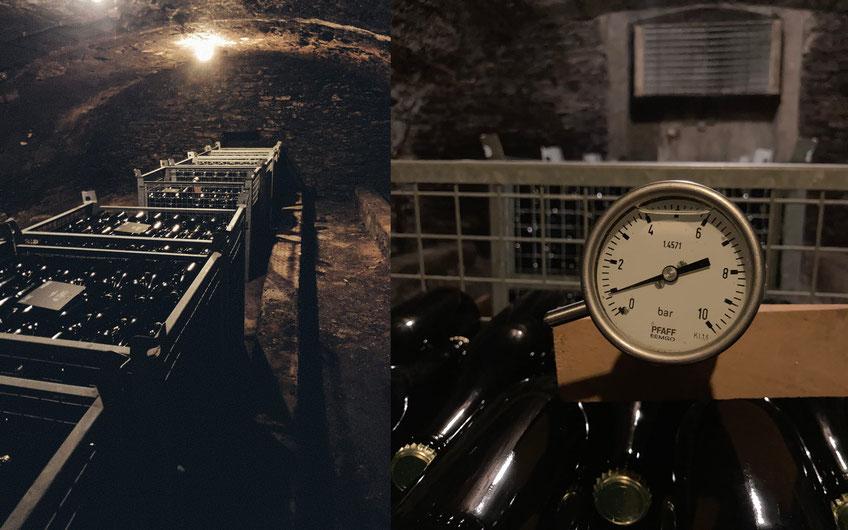 Reifung der Sektflaschen im Gewölbekeller