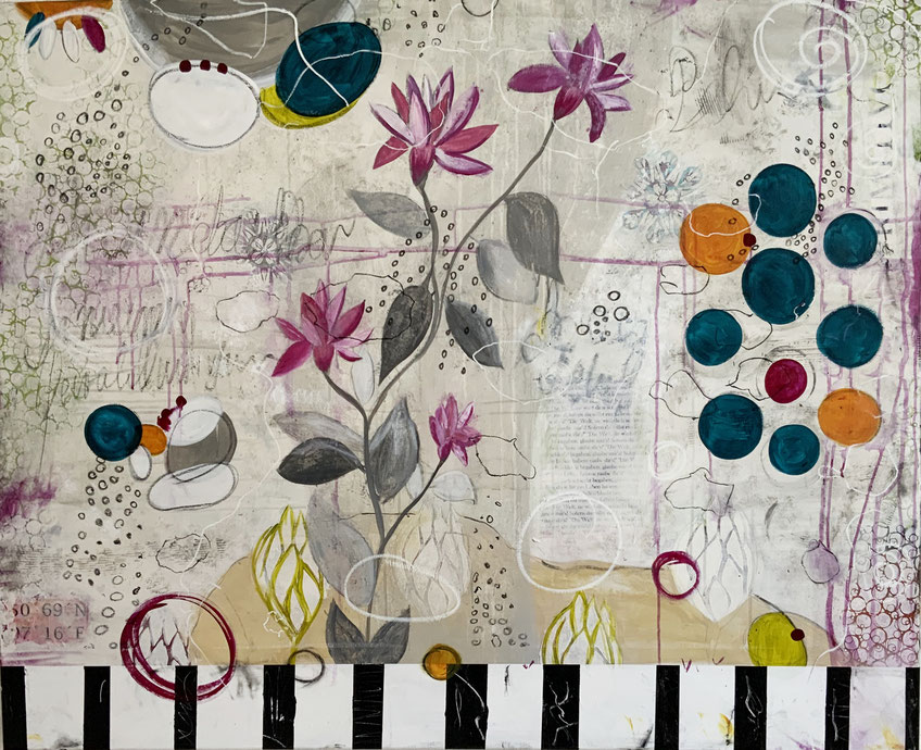 Artigkeit, Claudia Karrasch, Studio Bonn, Malen, Kunst, Abstrakte Malerei, Flower, Acryl, auf Leinwand, 130 X 110 cm