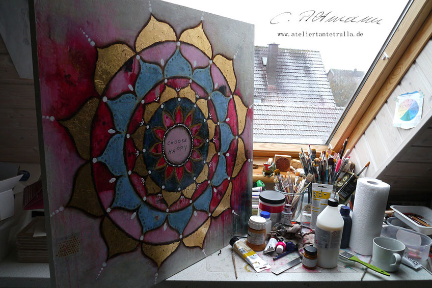 Kunstdruck Mandala Blattgold Choose Happy von Conni Altmann www.ateliertantetrulla.de