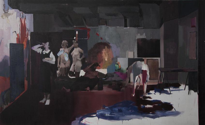 Placer (El Gran Estudio). Oil on linen. 180 x 300 cm. 2016
