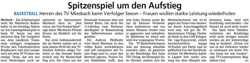 Artikel im Miesbacher Merkur am 25.1.2020 - Zum Vergrößern klicken