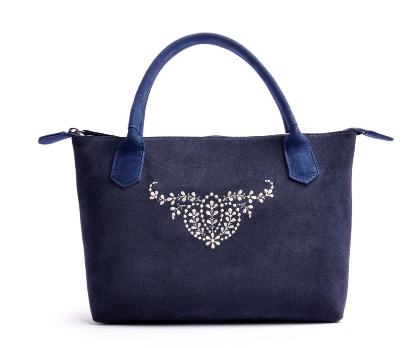 Edle Trachtentasche blau Handgefertigt Ledermanufaktur OSTWALD Tradition
