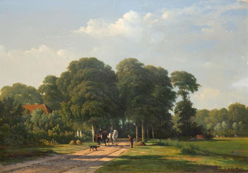 te_koop_aangeboden_een_landschaps_schilderij_van_de_nederlandse_kunstschilder_alexander_hieronymus_bakhuijzen_II_1826-1878