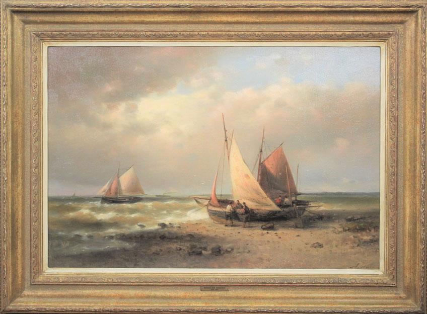 te_koop_aangeboden_een_prachtig_zee_gezicht_met_vissersboten_van_de_nederlandse_kunstschilder_abraham_hulk_1813-1897