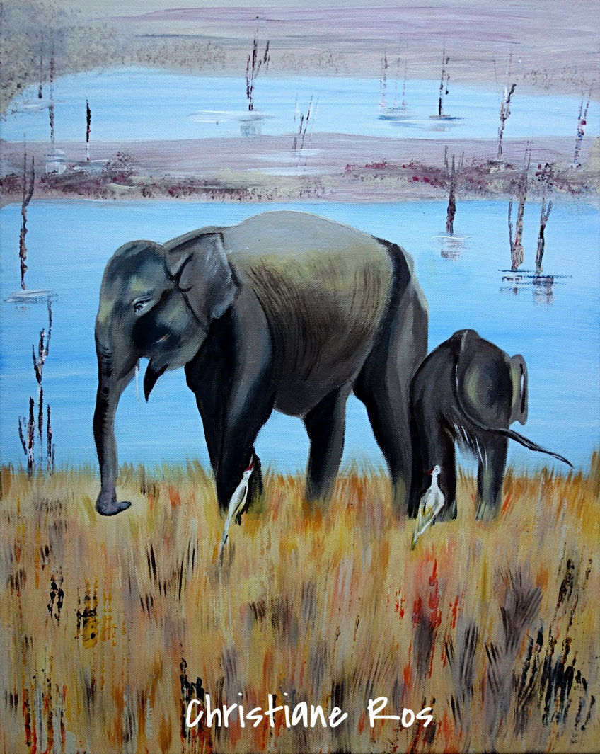gemaltes Bild Elefanten auf Sri Lanka © Christiane Ros