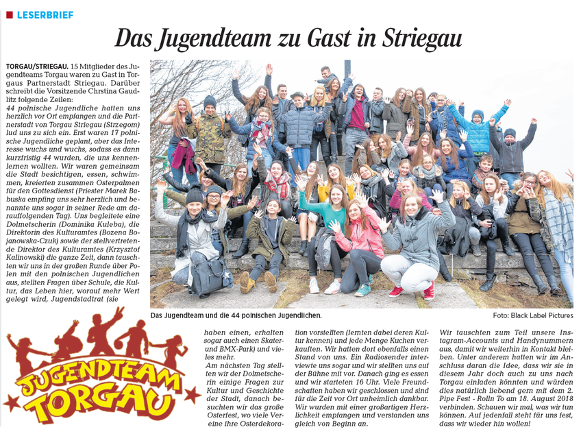 Jugendteam Torgau on Tour - Zu Gast in Striegau, Partnerstadt von Torgau