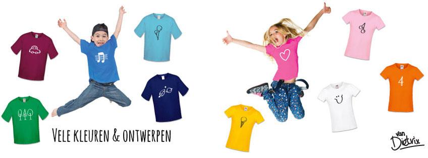 Kinder T-shirts jongens meisjes meiden kleding vrolijk hip