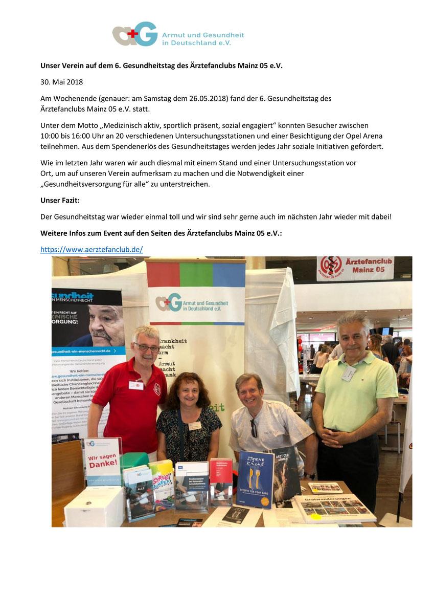 """Weitere Informationen auch auf der Homepage vom Verein """"Armut und Gesundheit e.V.""""  - Bild anklicken !"""