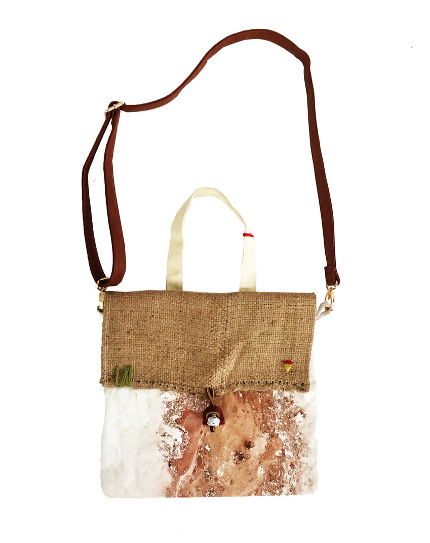 Emery bag - front | made out of burlap, yarn, and canvas | SOLD