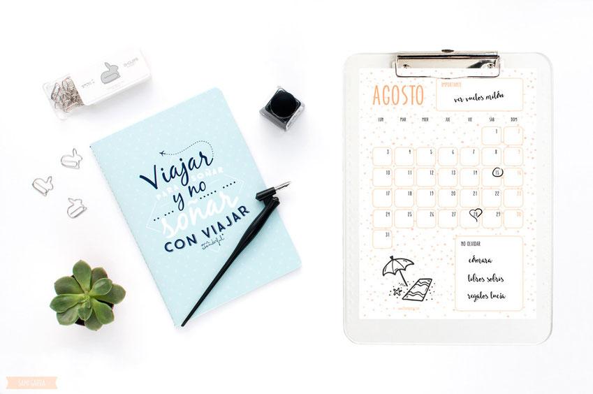 Freebies de calendario: Agosto by Sami Garra