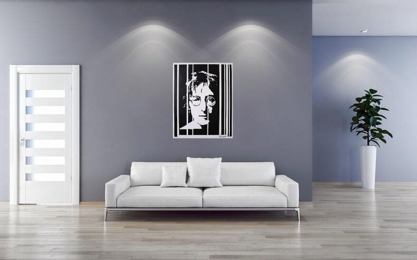 Lennon (2006) Peinture de l'artiste Vlado Vesselinov présentée sur le mur d'une pièce virtuelle