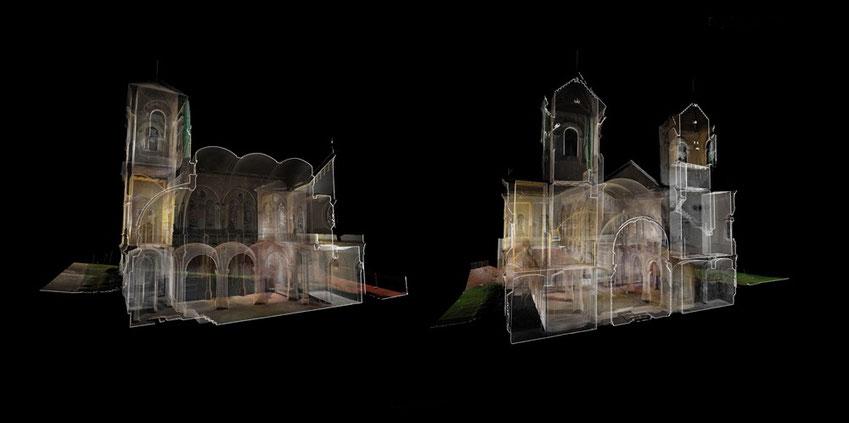 Figura 2: Secciones 3D del modelo de Nube de Puntos