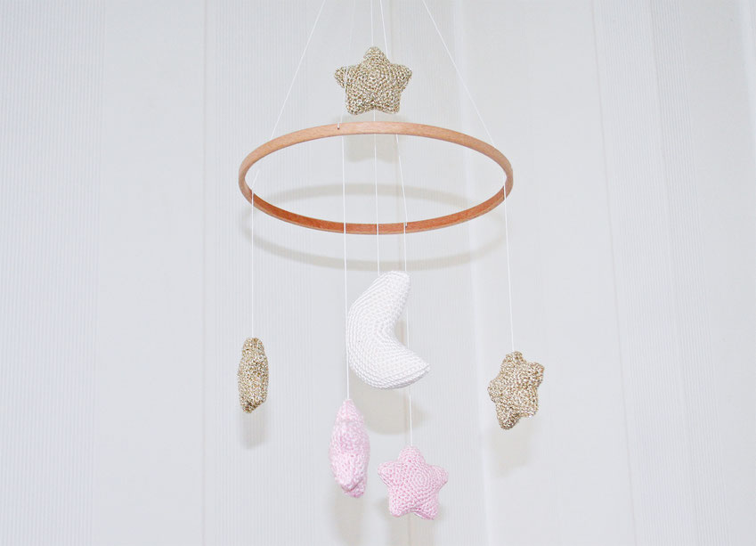 crochet baby mobile moon and stars in gold and pink