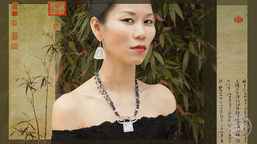 Collier 25 fait main avec perles en argent et pendentif traditionnel ethnique en argent massif