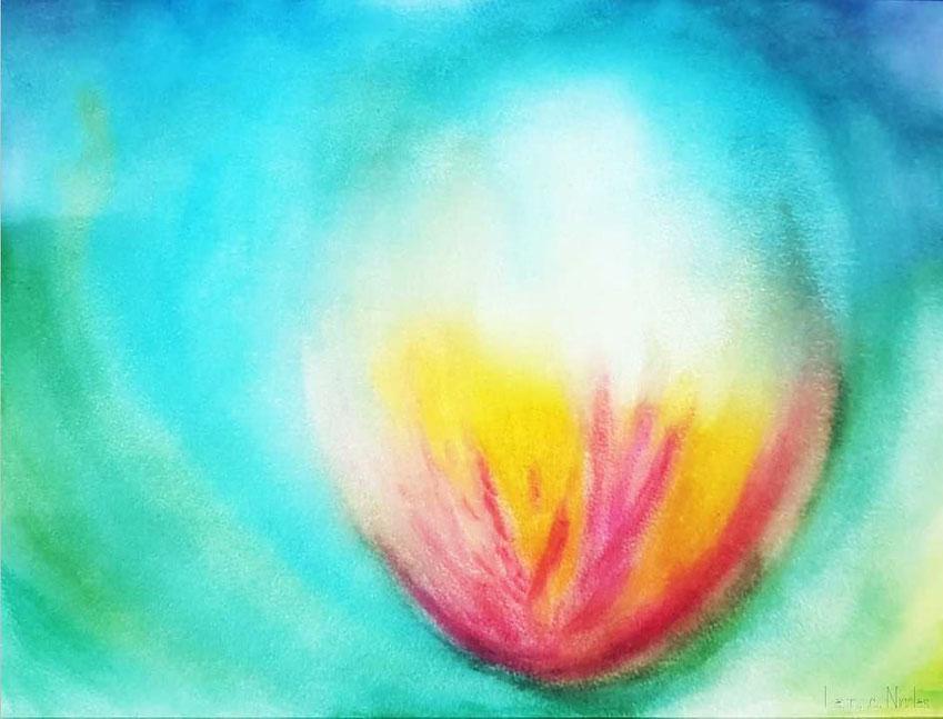Dessin intuitif réalisé par Laurence Nicolas - peinture aquarelle - illustration d'un lotus lumineux - image non libre de droits